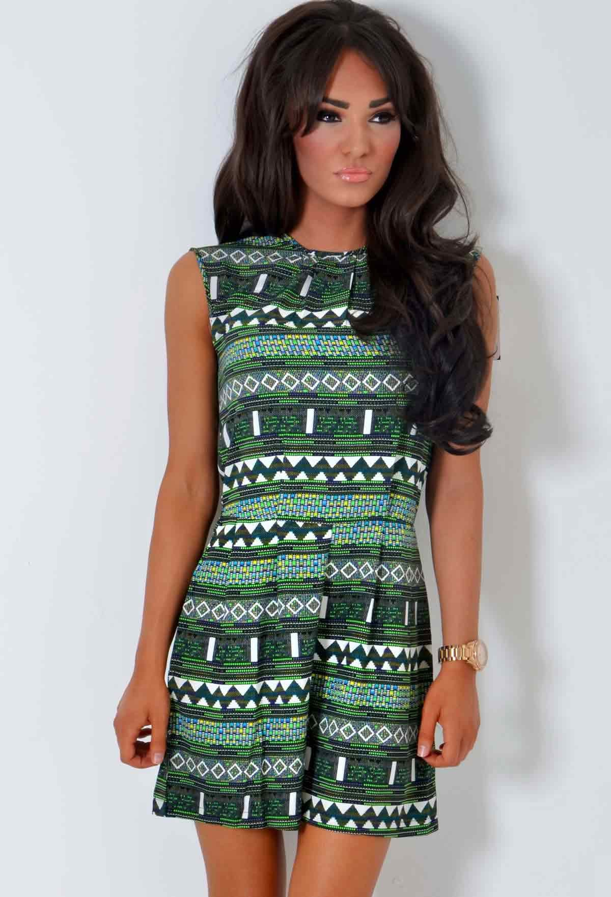 Pinta Green Aztec Print Tribal Inspired Playsuit | Pink Boutique