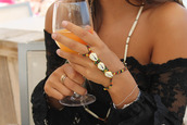 jewels,connected ring and bracelet,shell,colorful,bracelets