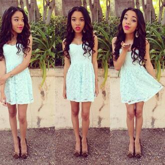 dress blue cute pretty lace bustier underline short bow shoes ligh