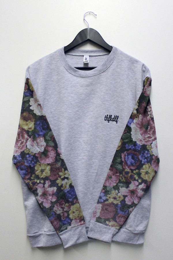 shirt bouse floral sweater grey long sleeves flowers winter sweater cute sweaters hot