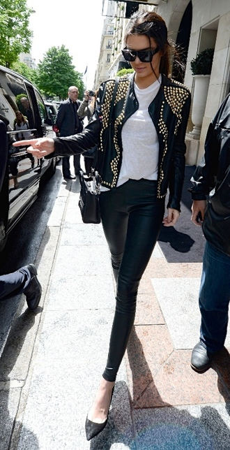 jacket kendall and kylie jenner kendall jenner leather jacket gold studs studded jacket studded leather jacket