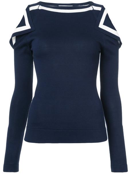 oscar de la renta top knitted top open women blue wool