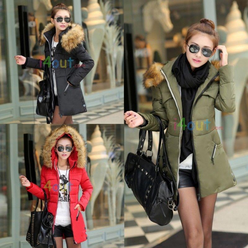 Women faux fur padded puffa hoodie jacket coat parka red black green m l xl xxl