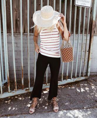 damsel in dior blogger tank top bag shoes top black pants tumblr stripes striped top pants flare pants sandals flat sandals hat sun hat