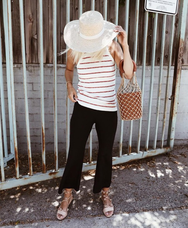 d6610f225 damsel in dior blogger tank top bag shoes top black pants tumblr stripes  striped top pants