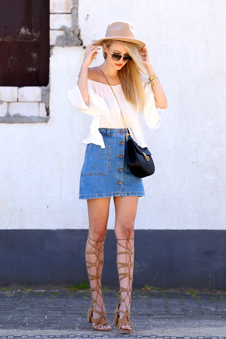 ohh couture blogger bag skirt top sunglasses shoes jewels hat