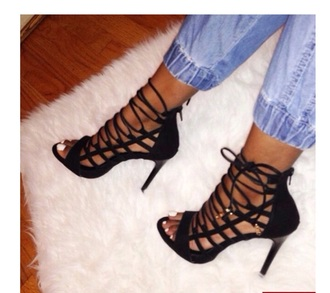 shoes black high heels lace-up shoes leather sandals