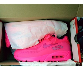 shoes neon hot pink nike air max 90