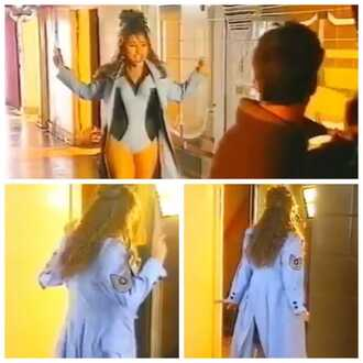 coat 2unlimited clothes one piece trench coat 90s style techno light blue black