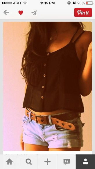 blouse black tank top cute shorts belt