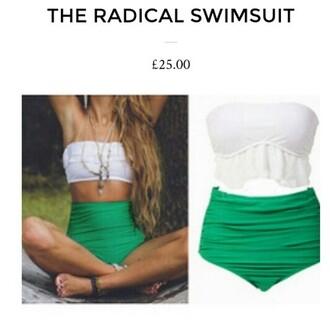 swimwear green swimsuit one piece swimsuit two-piece