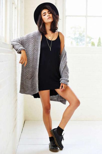 outfit little black dress cardigan blouse black hat hat grey cardigan black  dress dress pullover cute 17f25387a37