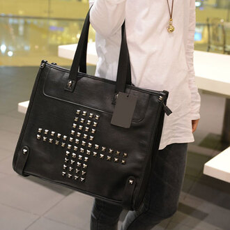 bag handbag black retro