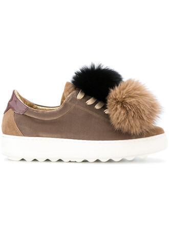 women sneakers leather cotton suede brown shoes