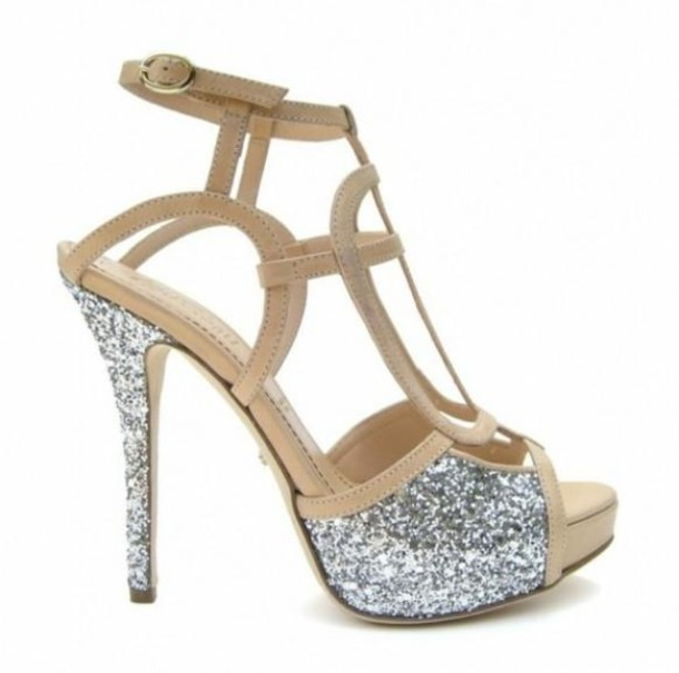 Shoes: nude heels silver sparkles strappy heels - Wheretoget