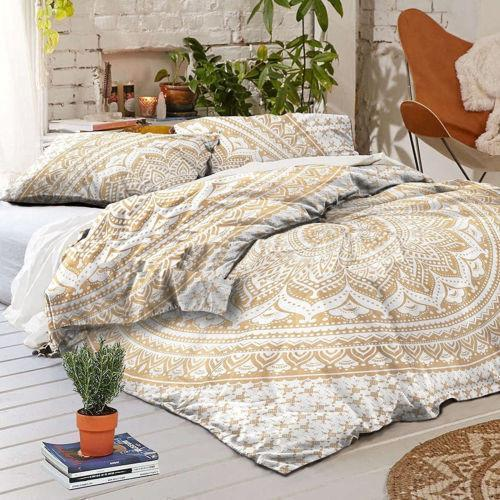 Golden Mandala Duvet Cover in King Size Bohemian Indian Comforter Cover with 2 Pillows