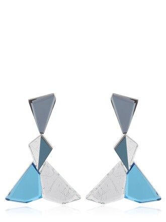 earrings silver blue jewels