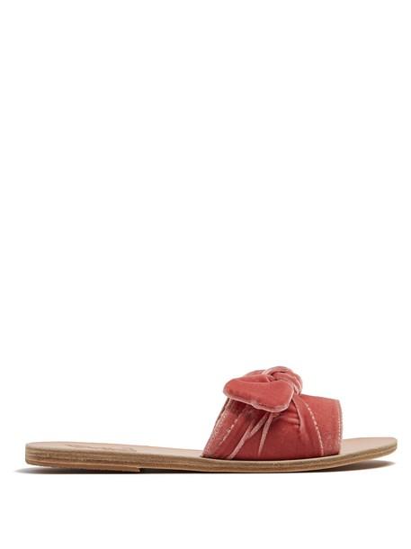 Ancient Greek Sandals bow embellished leather velvet pink shoes