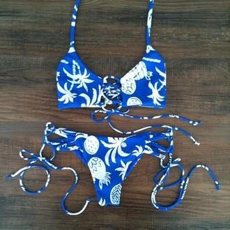 swimwear blue summer bikini bikini top bikini bottoms