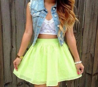 skirt lime green and puffy dress