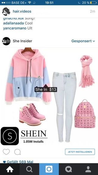 sweater pink blue white
