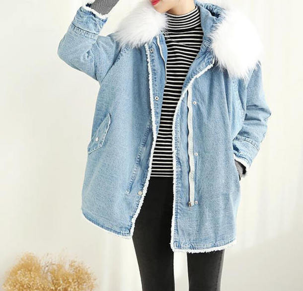 coat denim padded coat
