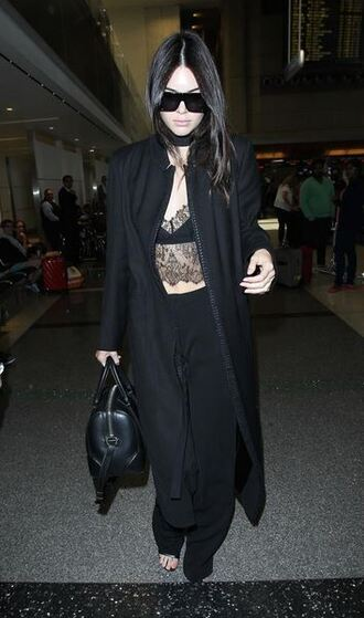 pants top kendall jenner all black everything lace top coat sunglasses lingerie lace black outfit