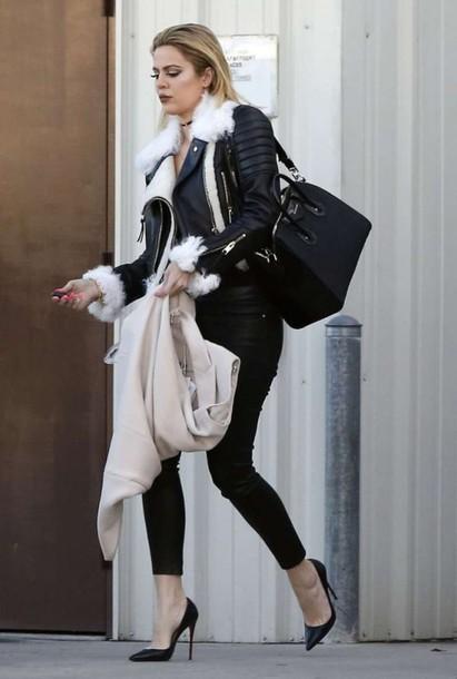 9e6a851941ad jacket fall outfits khloe kardashian pumps jeans pants all black everything  burberry black pants black skinny