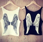 top,blouse,clothes,angels,wings,black and white,angle wing,beautyful,t-shirt,tank top