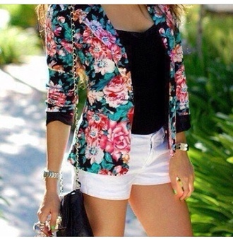 coat floral blazer jacket summer black pink flowers flower blazer black blazer gorgeous beautiful outfit hot roses blue