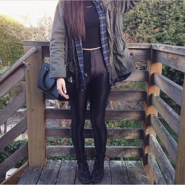 coat boots high waisted jeans pants