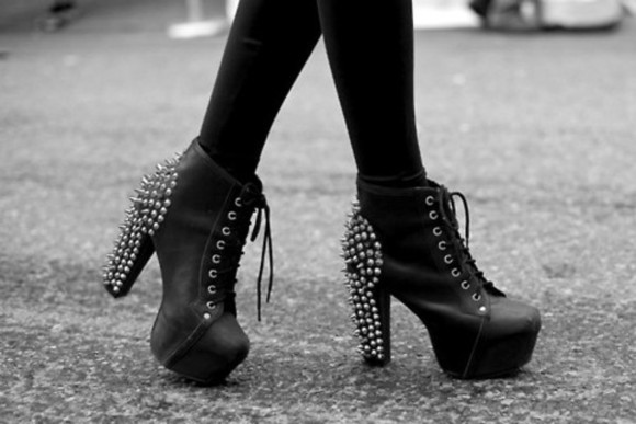 shoes black heels black spikes spiked heels