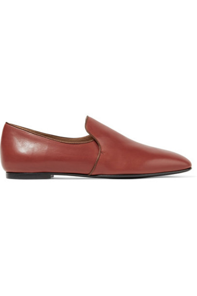 The Row - Alys Satin-trimmed Leather Loafers - Tan