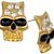 Gold Rhinestone Hollow Eyes Post Stud Earrings