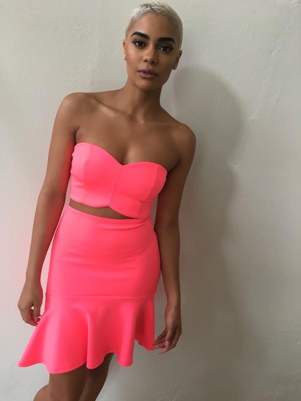 skirt two piece dress set pink dress strapless