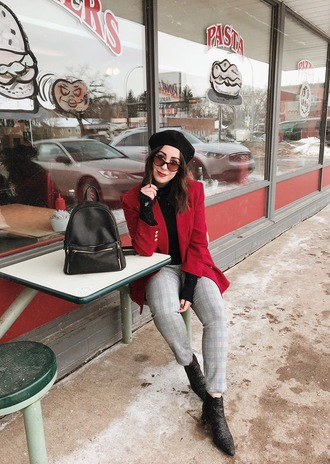 pants shoes sunglasses adventures in fashion blogger jacket backpack blazer beret ankle boots