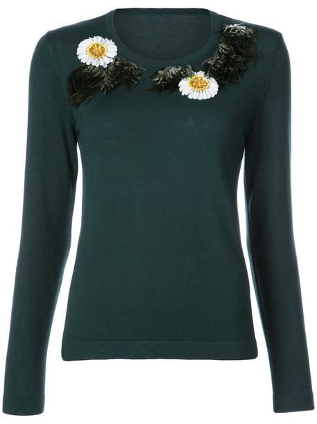 oscar de la renta sweater embroidered women wool green