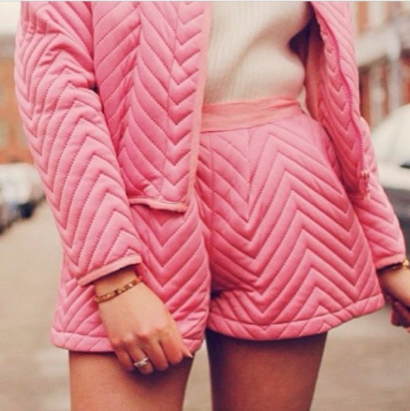 cute shorts girly grunge girly summer pink jacket hot pink quilted two piece set matching bomber jacket high waisted short