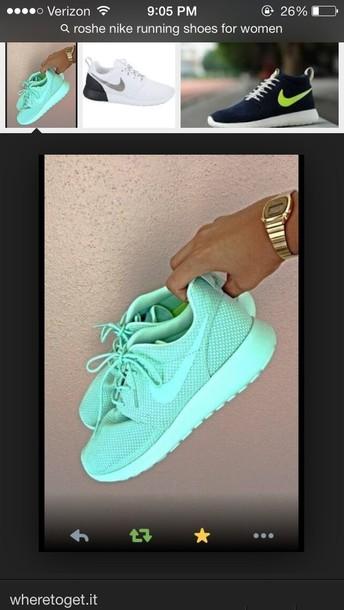 shoes mint green nike roshe