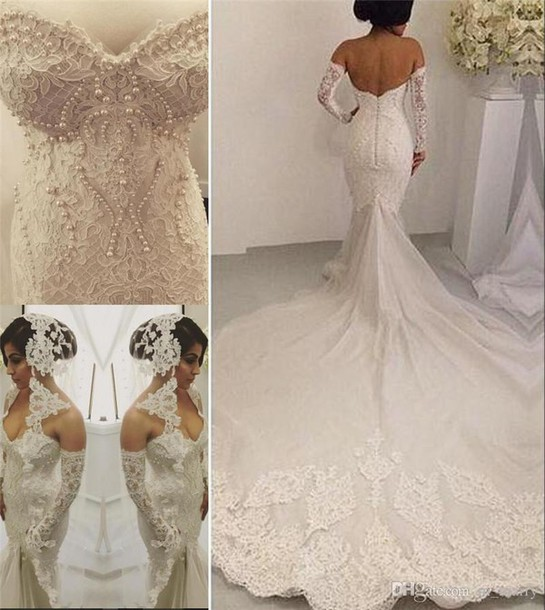 Dress Mermaid Berta Wedding Dresses Full Lace Cathedral Train Backless