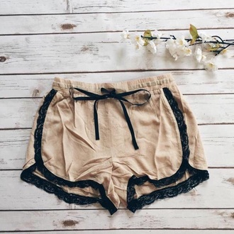 shorts lace comfy nude shoes beige mini shorts