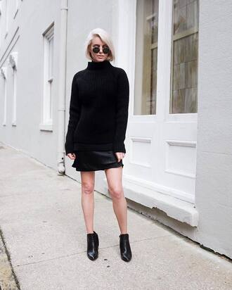 sweater tumblr black sweater all black everything turtleneck turtleneck sweater dress black dress mini dress sweater over dress boots black boots ankle boots sunglasses round sunglasses