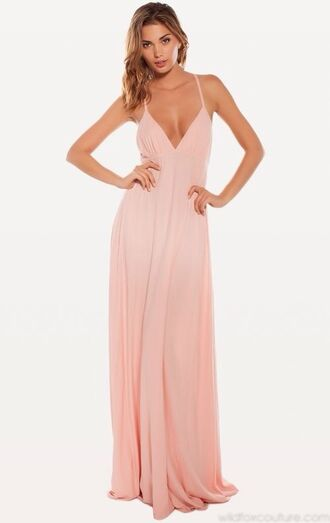 dress pink flowy v neck long elegant coral