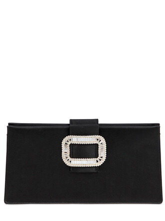 clutch silk satin black bag