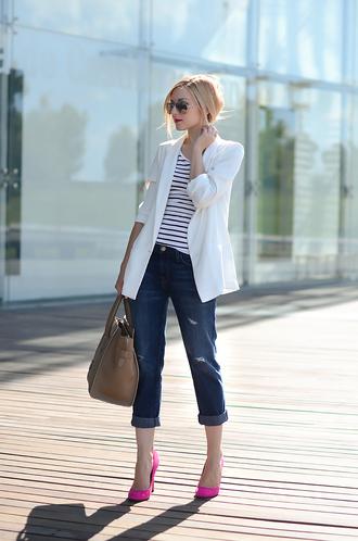 oh my vogue jacket t-shirt jeans shoes bag make-up
