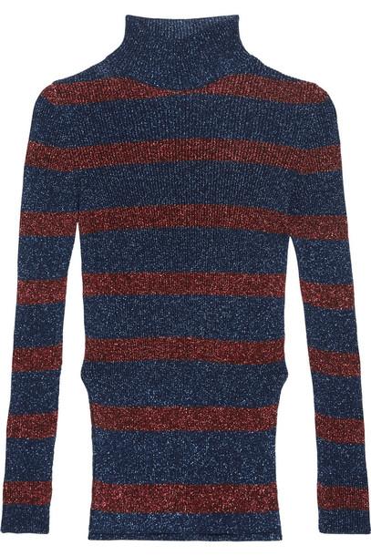 3c36257a9d972b Cédric Charlier Striped Metallic Ribbed-Knit Turtleneck Sweater ...