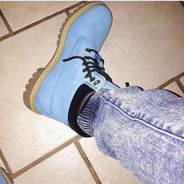 shoes blue timberlands boots