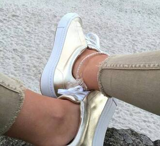 shoes gold doré sneakers metallic shoes low top sneakers