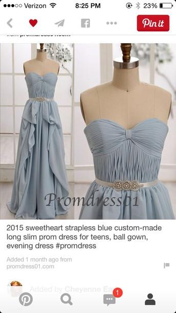 dress blue prom dress strapless dress sweetheart neckline