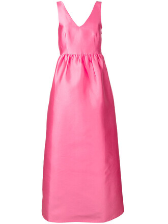 dress women silk purple pink